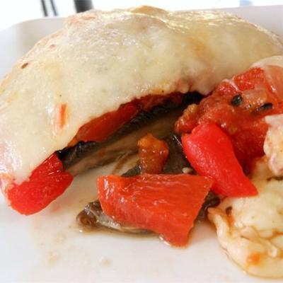 portobello e mozzarella grelhados
