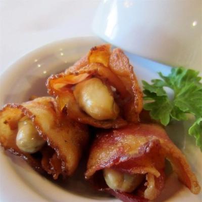 ostras e bacon