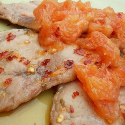 Costeletas de porco de Benji com sabor de toranja