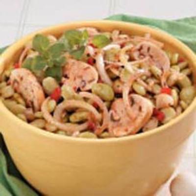 salada de feijão-de-lima marinada
