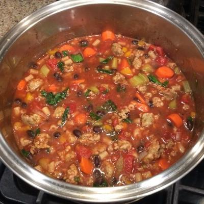 salsicha italiana e sopa de tomate