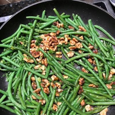 feijão verde com nozes
