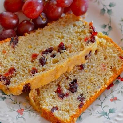 pão de laranja chá de cranberry