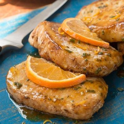 costeletas de porco laranja-sálvia
