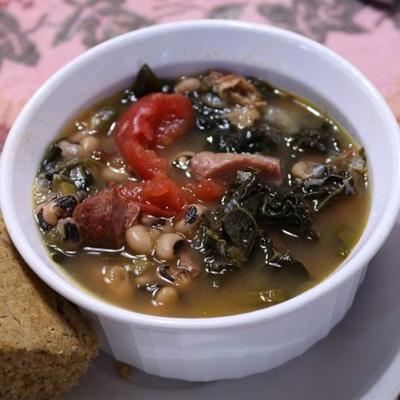 verduras socal e sopa de ervilha de olhos pretos