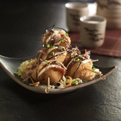 mordidas de batata doce e salgados japoneses