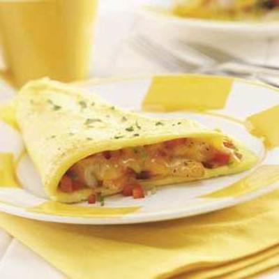 omelete de ovo e camarão fofo por dois