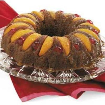 bolo de pêssego de gengibre de cabeça para baixo