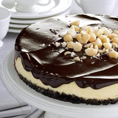 cheesecake de macadâmia de chocolate