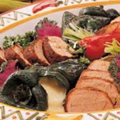carne de porco grelhada e pimentas poblano