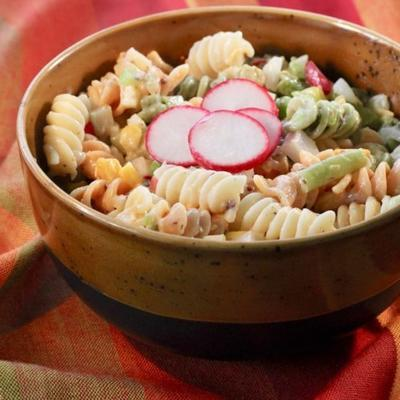 salada de macarrão fiesta com picles de endro