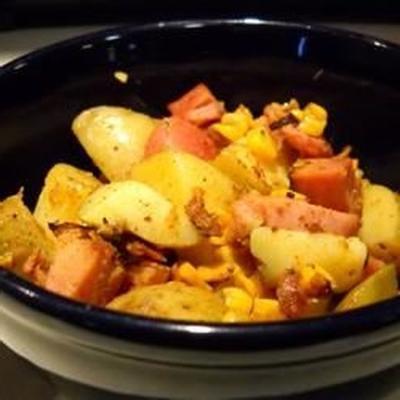 batatas temperadas e presunto em espiral