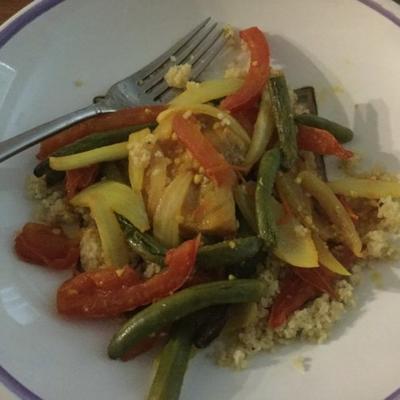 bacalhau e curry de feijão verde