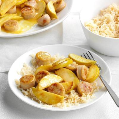 salsicha de frango de mostarda de maçã e mel