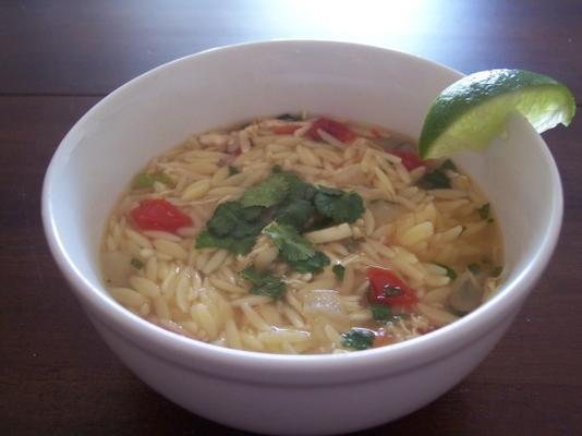 significa galinha de estilo yucatan do chef, limão e sopa de orzo