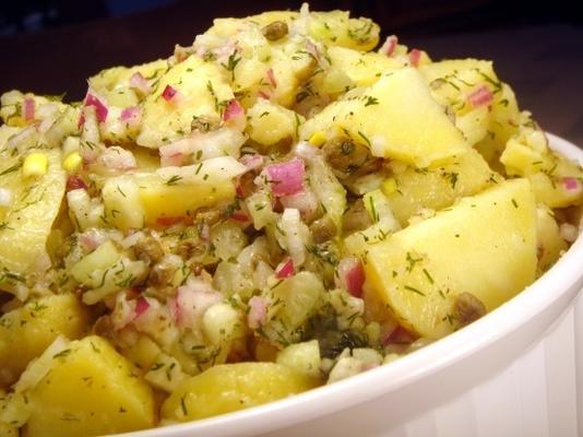 salada de batata com vinagrete de limão e endro