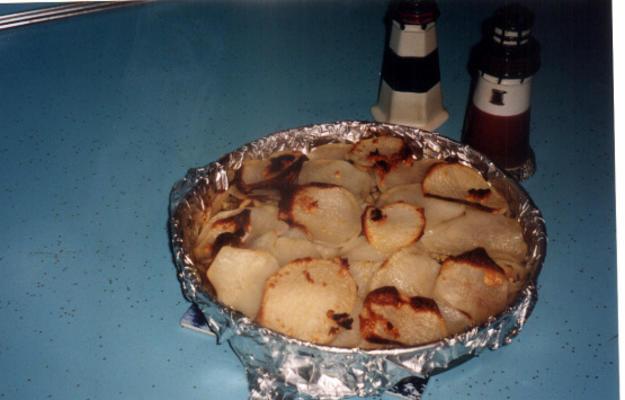 tomate, alho-poró e batata cozer