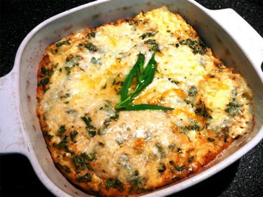 ovos de queijo cozidos com alho-poró e estragão