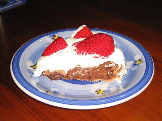 Pavlova de chocolate com framboesas