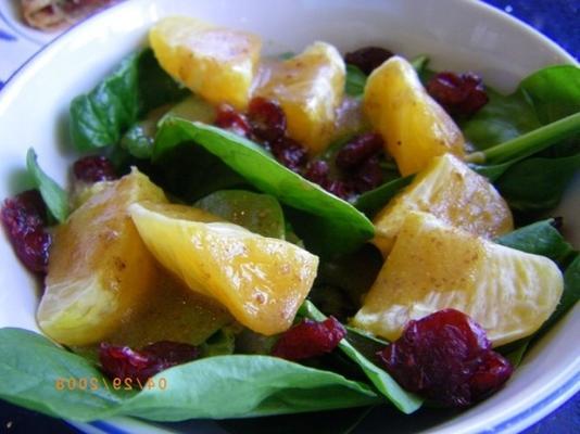 salada de espinafre e tangerina