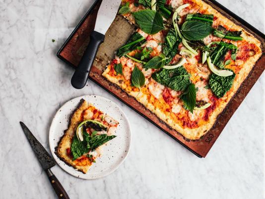 crosta de pizza de couve-flor perfeita