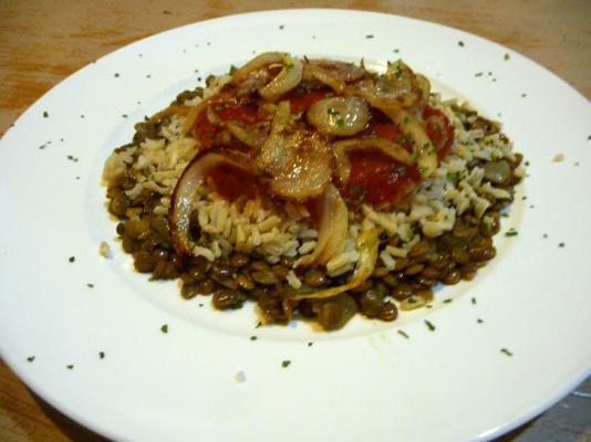 lentilhas com arroz selvagem e cebola crocante (koshari)