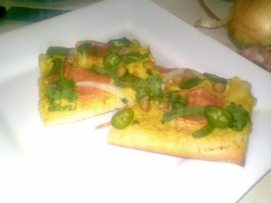 pizza vegana - caril, batata doce e foguete