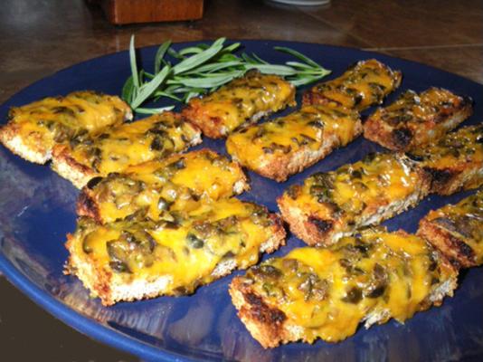 canapés de azeitona e queijo cheddar