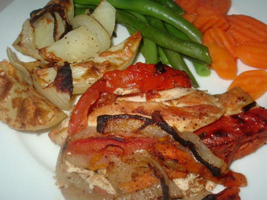 frango recheado de legumes doces e salgados