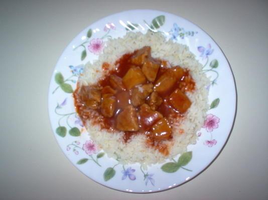carne de porco polinésia premiada com arroz