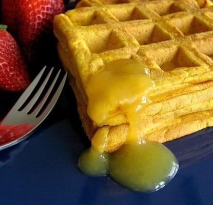 waffles de abóbora com calda de laranja (baixo teor de gordura)