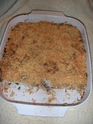 frango crocante e caçarola de arroz