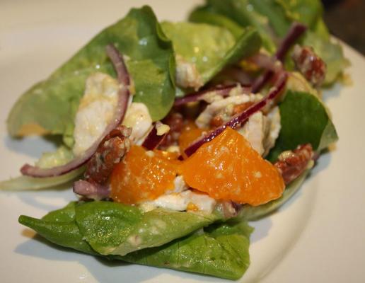 salada de frango, abacate e tangerina