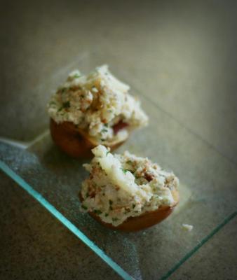 batatas céu azul (aka aperitivos de batata assada duas vezes com queijo azul