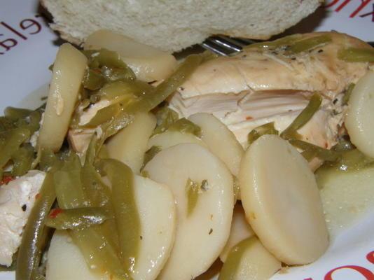 frango panela simples crock com feijão verde