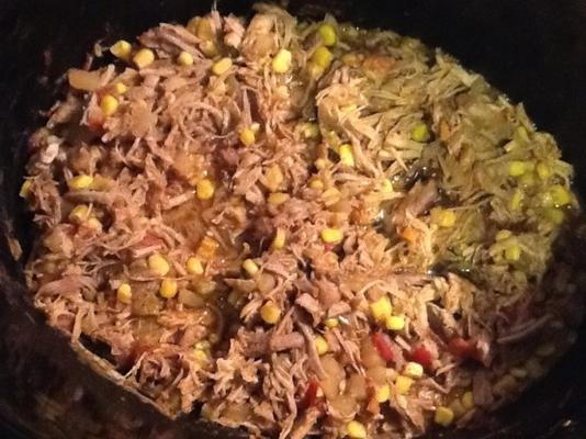 tacos de carne de porco da panela de barro