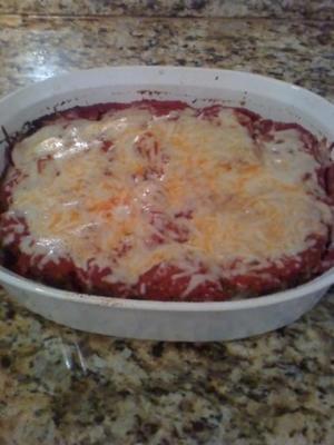 bolo de carne em camadas de queijo