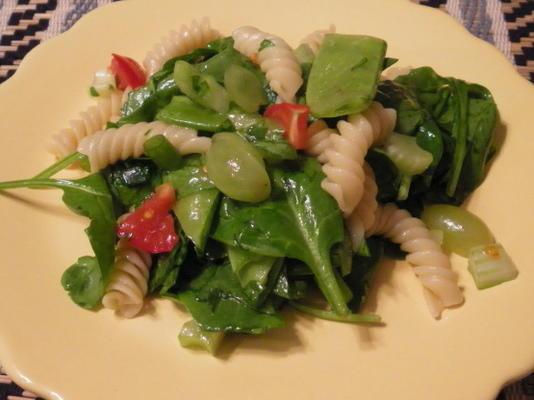 salada de macarrão espinafre - gosto de casa