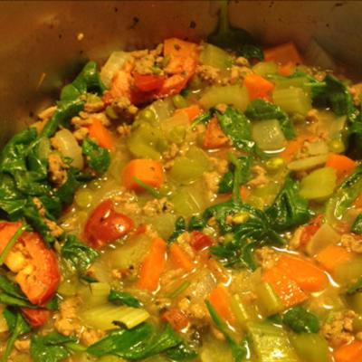 salsicha de peru e sopa de lentilha