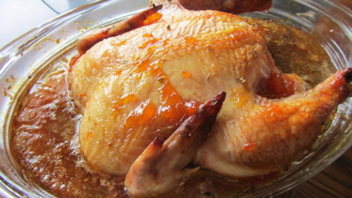 frango assado de teriyaki de abricó