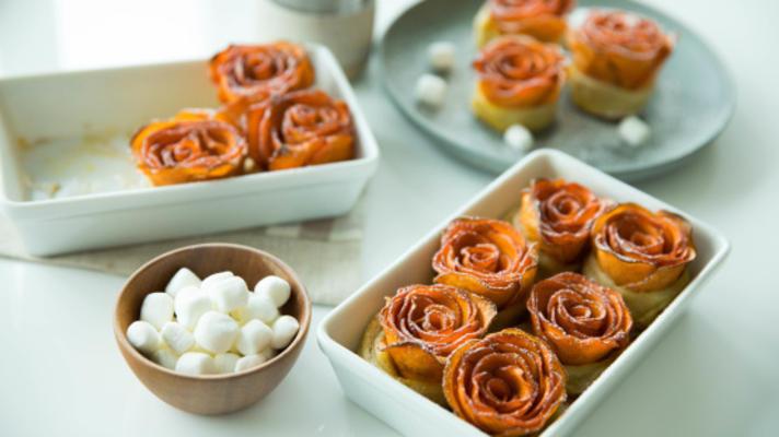 rosas de caçarola de batata doce