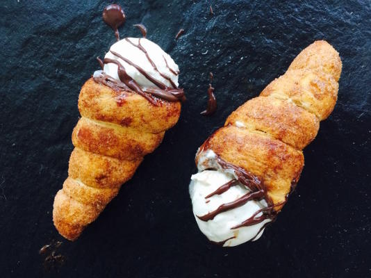 Cones de sorvete churro