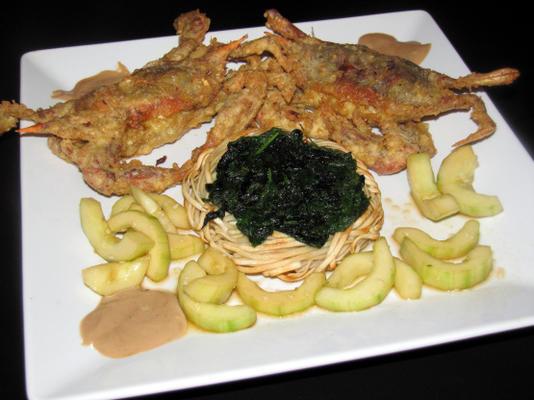 caranguejo de casca mole tempura