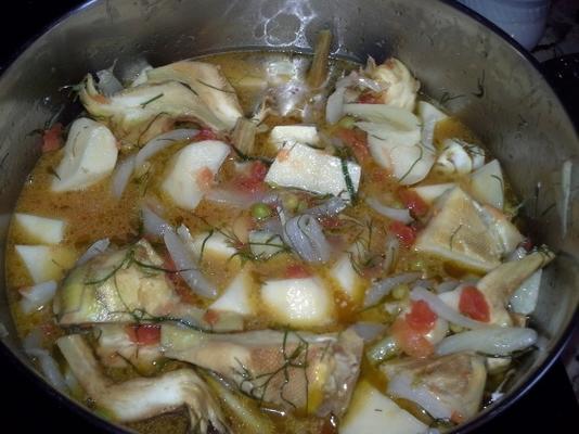 alcachofras e batatas (grego)