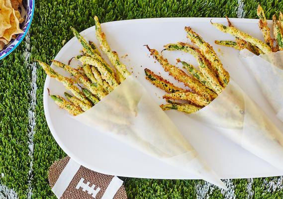fritas de feijão verde assadas no forno