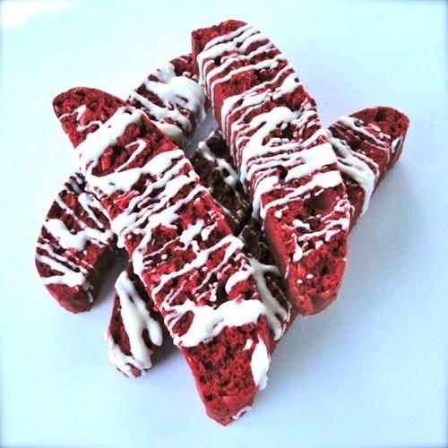 Biscoito de veludo-coco vermelho